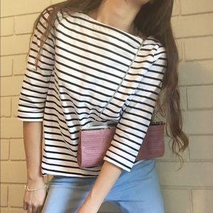 Loft Black & White Stripes Trendy Top